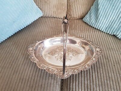 Antique Victorian Silver Plated Fruit Bread Basket Ornate Repousse / Rococo