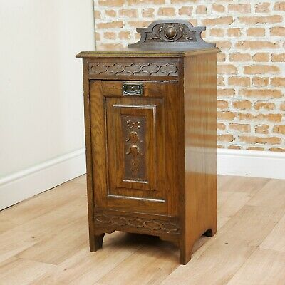 Antique Original Edwardian Carved Solid Oak Coal Purdonium Log Cabinet Scuttle