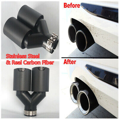 63mm Matte Real Carbon Fiber Car Exhaust Dual TWIN End Tail Pipe Tips for BMW