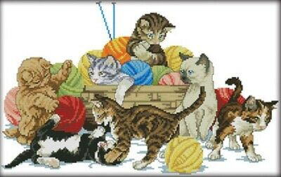 Cats are Playing. Yarn. Kittens. 14CT Counted Cross stitch Kit. Craft Brand New