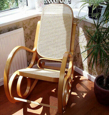 New Rattan Seat Bentwood Birch Rocking Chair Thonet Conservatory Bedroom Nursery