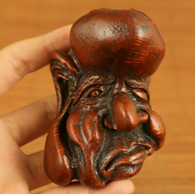 antique chinese old bamboo root funny face statue figure netsuke decoration gift