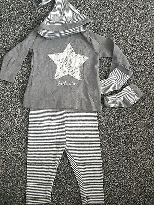 Baby Boy Grey 4 Piece Striped Outfit Set**Next** 3-6Months*Joggers/Top/Socks/Hat