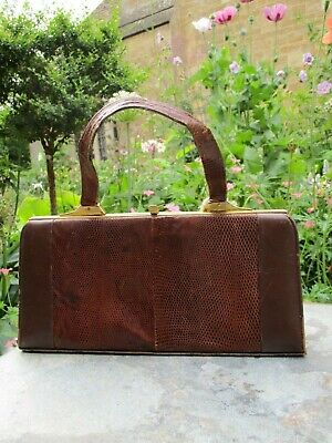 Fab Vintage Retro Handbag 50s 60s Brown Real Leather & Suede Kelly Style Purse