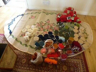 """Latch Hooking Kit Rug 70"""" x 48"""" approx with over 53 +odds wools Started"""