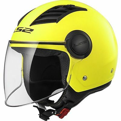 Casco Jet Ls2 Of562 Airflow Solid Giallo Opaco Interno Removibile Prese D'aria