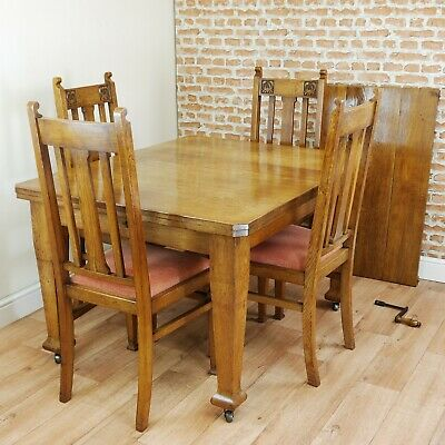 Antique Edwardian Art Nouveau Solid Medium Oak 1 Leaf Wind Out Table & 4 Chairs