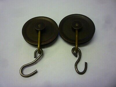 Pair Of Antique 8 Day Grandfather Clock Weight Pulleys (18)