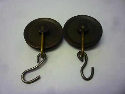 Pair Of Antique 8 Day Longcase Grandfather Clock Weight Pulleys (18)