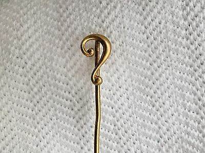 ANTIQUE VINTAGE VICTORIAN *10K YELLOW GOLD* QUESTION MARK STICK PIN~0.5g