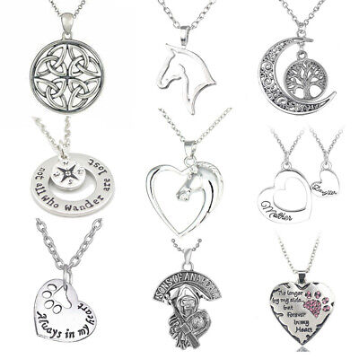 Retro Pendant Necklace Women Men Chains Horse Heart,Tree Of Life Charm Jewellery