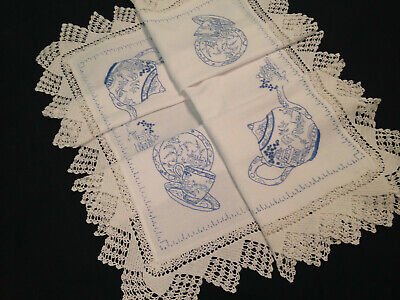 Gorgeous Vintage Hand Embroidered Linen Tablecloth ~ Stunning Willow Pattern
