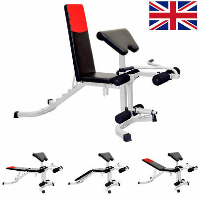 Adjustable Preacher Arm Bicep Curl Weight Bench Leg Extension Incline Decline