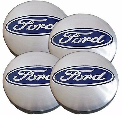 Set Of 4 Silver Ford Logo Alloy Wheel Centre Caps Badge 54Mm Focus Fiesta Mondeo