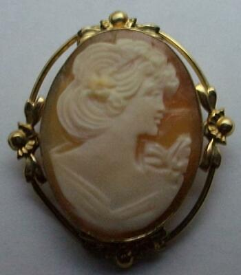 Vintage Pin Pendant / VAN DELL / 14K GOLD FILLED GF / HAND CARVED SHELL CAMEO