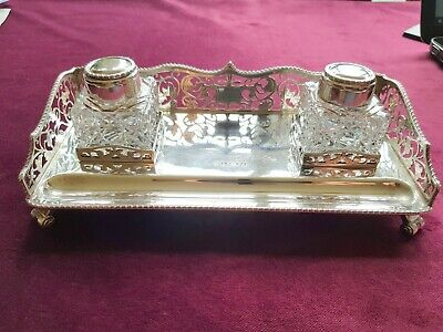 A Stunning, Vintage, Solid Silver Standish