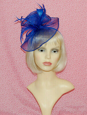 Elegant Royal Blue Disc Fascinator With Flower & Feathers on Head Band.