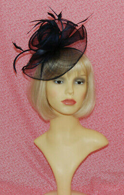 Elegant Navy Blue Disc Fascinator With Flower & Feathers on Head Band.