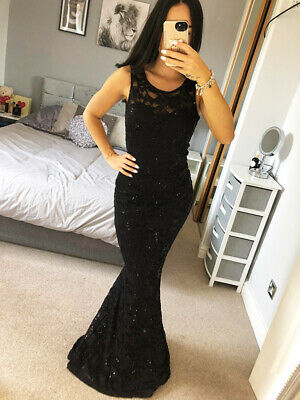 Quiz Black Lace Sequin Dress Ball GownDetail Long Fishtail Maxi Evening Prom