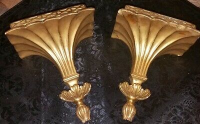 GOLD GILT FLUTED SHABBY FRENCH PROV. Vintage Pair Of CORBELS SCONCES~Italy!