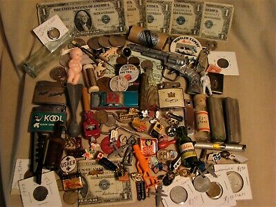 JUNK DRAWER LOT Estate 90% SILVER COINS-BILLS Tobacciana 1c Indian Toys Lighters