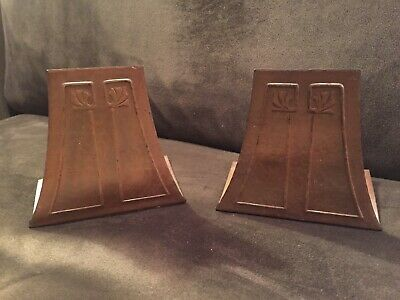 Wonderful Vintage Pair Roycroft Copper Bronze Arts & Crafts Mission Bookends