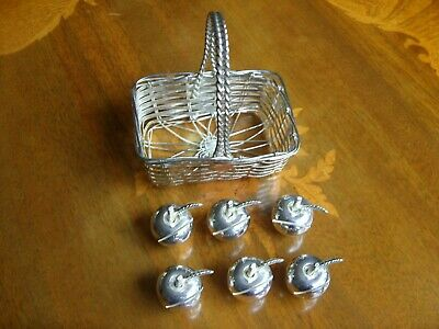 6x Vintage French Silver Plate Menu / Place Card Holders - Apples in Basket