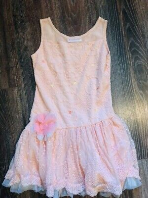 American Girl Dress Size 7 Shimmer Lace Party Dress Sleeveless Lace Peach