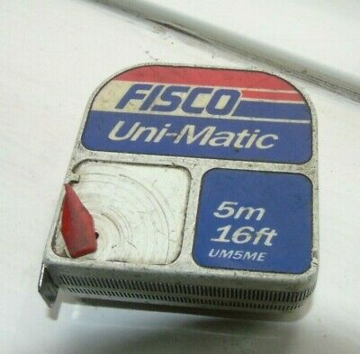 Vintage Original Fisco Unimatic Measuring Tape 5m/16ft, Made In England