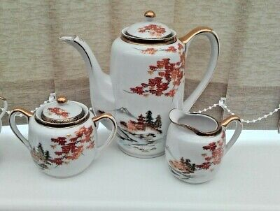 Vintage Japanese Kutani Eggshell Porcelain Tea Set Hand Painted Pattern