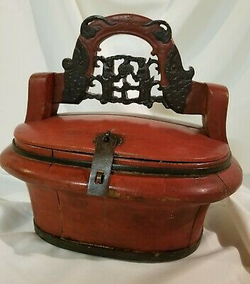 Vintage Chinese Wedding Basket - Ted Lacquer Wood