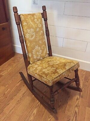 Vintage Antique Old Upholstered Gold Patterned Velvet Wooden Rocking Chair