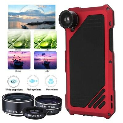 4in1 Lens Kit for iPhone XR X/XS Max Fisheye Wide Angle Macro Lens /w Metal Case