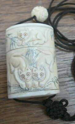 Hand Carved Bovine Bone Inro With Ojime With Scenes Of Cats To Both Sides