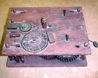 """Antique All Wood Clock Movement -  6 1/2"""" by 8 1/2""""  Looks Complete"""
