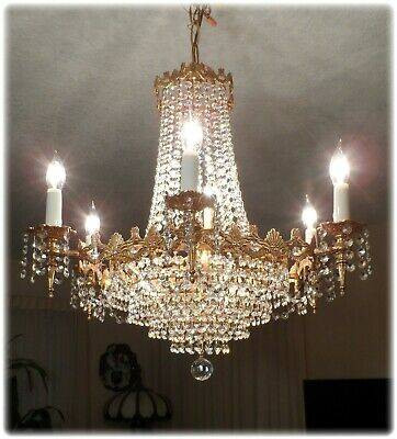 Vintage Crystal Gilded Italian Chandelier with Brass with 12 Lights
