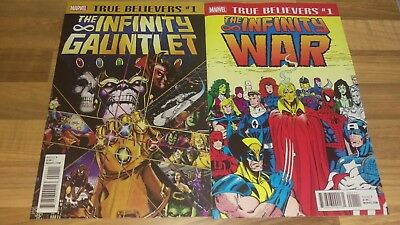 Marvel True Believers 1 Thanos Infinity Gauntlet and Inifinity War 1 Set NM New