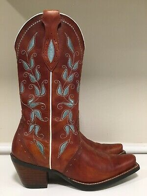 bcbeaa3fff6 ARIAT WESTERN COWBOY Boots Womens 7B Brown Leather Horse Riding Blue ...