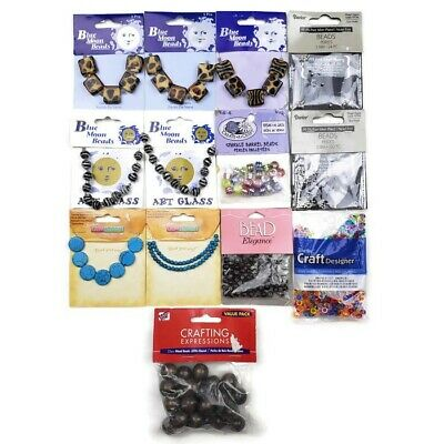 NEW Bead Lot Bundle of 13 Pkgs Jewelry Making Crafts Darice Blue Moon Animal