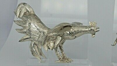 Pair of detailed chinese 950 silver fighting cockerels dining table decoration