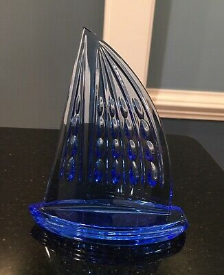Waterford Crystal Signed Blue Sailboat Figurine Paperweight Boat