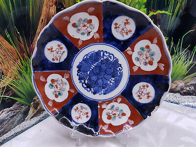 Old Japanese Imari Blue And Red Floral Plate 21cm  Asian Oriental Antique FLUTED