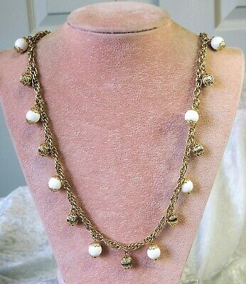 Vintage White & Gold Tone Metal  Beaded Necklace