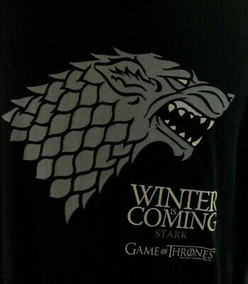 Game of Thrones House Stark Winter Is Coming Black T-Shirt Size L