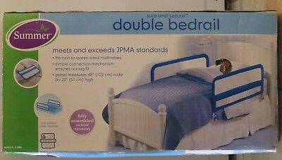Summer Infant Sure and Secure Double Bedrail LARGER BLUE 48 W x 20 H NIB NEW