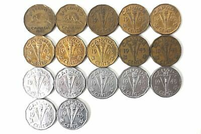 17 Coins Collection WW2 1942 1943 1944 1945 Tombac Victory Canada 5 Cents Nickel