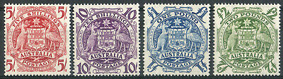 Australia 1949 KGVI Coat of Arms 5/- to £2 mint stamps  Lightly Hinged