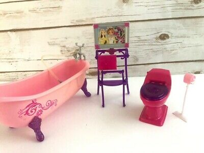 New Barbie Real Working Shower Playset With Doll Bathroom