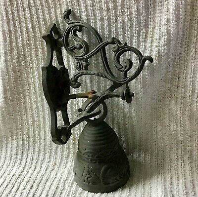 """Old Bell Vintage Barn Porch Wall Mount Dinner Country Cast Iron Figures 8"""" Small"""