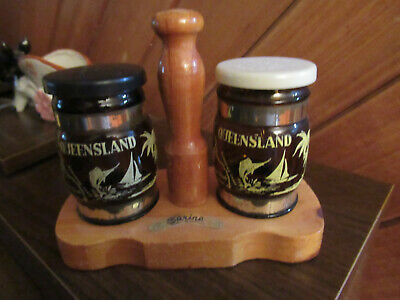Vintage Souvenir Salt And Pepper On Wooden Stand Sarina Nth . Qld.